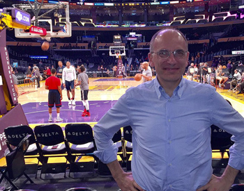 Former Prime Minster of Italy Enrico Letta at a Laker's game