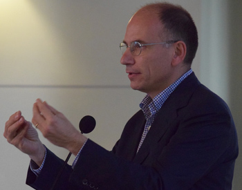 Former Prime Minster of Italy Enrico Letta speaking